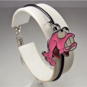 Jewelry - NAUTICAL GOOFY PINK FISH BLACK LEATHER BRACELET